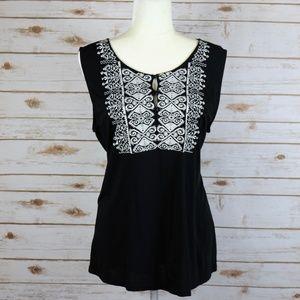 J CREW Boho Embroidered Black Sleeveless Top XL